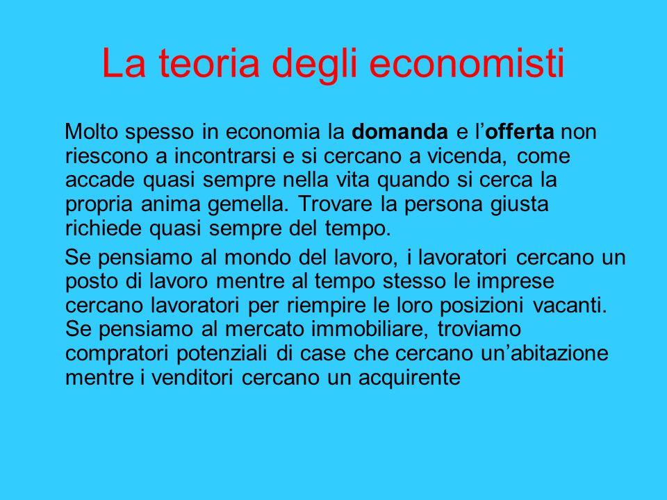 La teoria degli economisti Molto spesso in economia la domanda e lofferta non riescono a incontrarsi e si cercano a vicenda, come accade quasi sempre