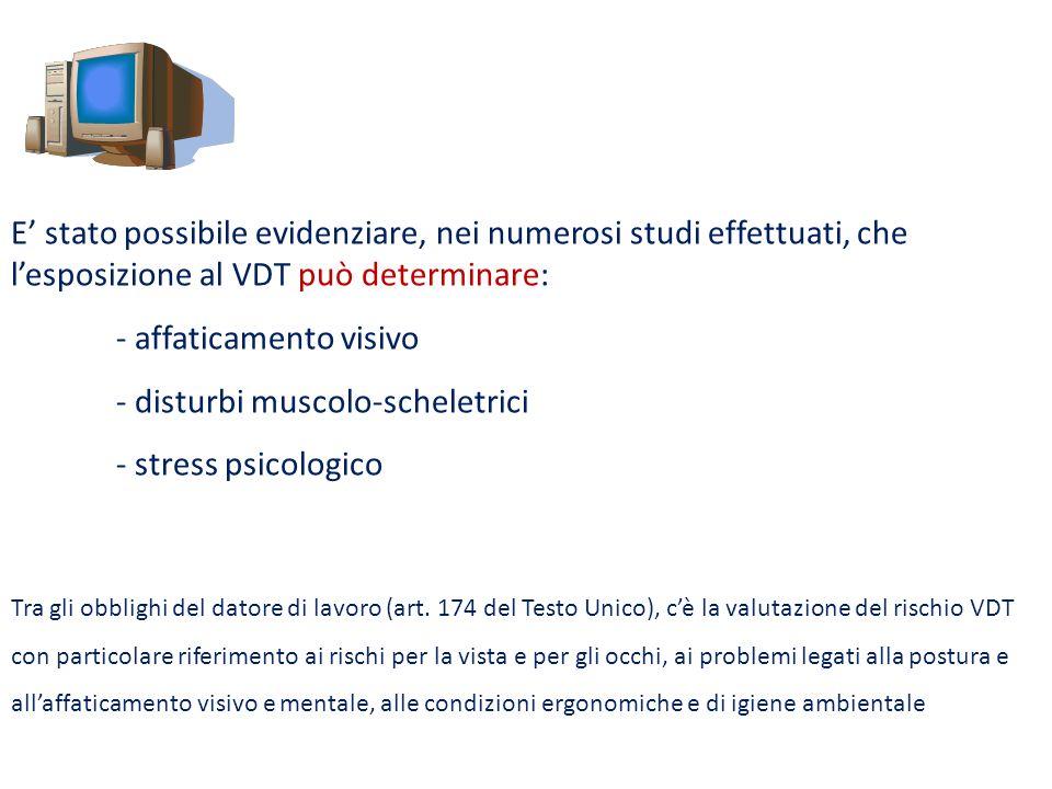 E stato possibile evidenziare, nei numerosi studi effettuati, che lesposizione al VDT può determinare: - affaticamento visivo - disturbi muscolo-schel