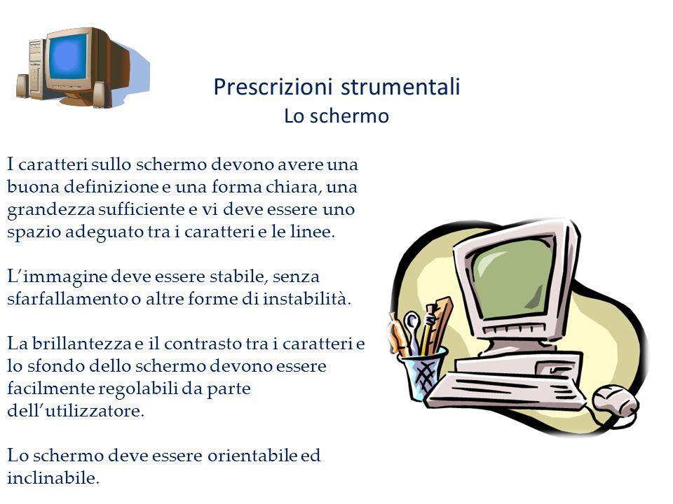 Prescrizioni strumentali Lo schermo I caratteri sullo schermo devono avere una buona definizione e una forma chiara, una grandezza sufficiente e vi de