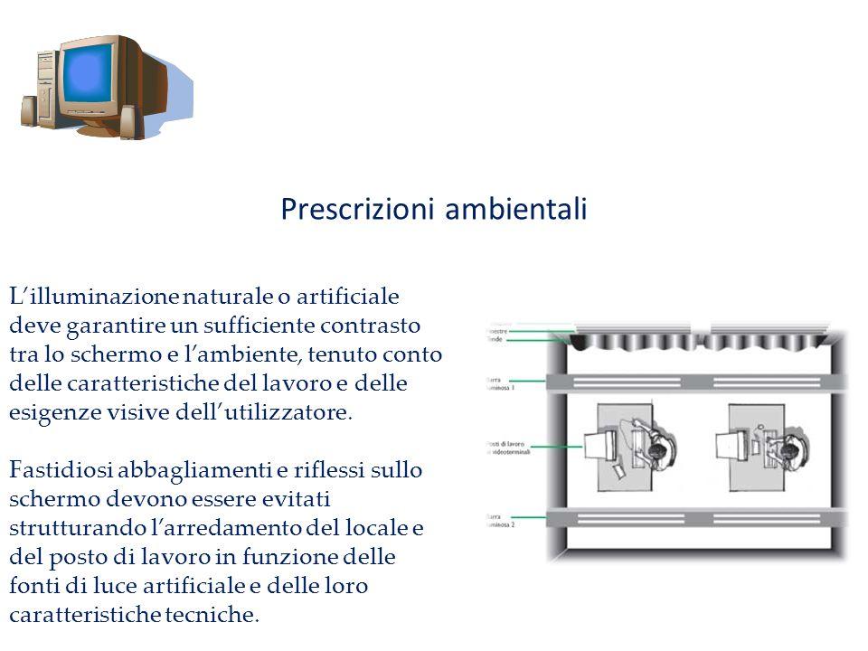 Prescrizioni ambientali Lilluminazione naturale o artificiale deve garantire un sufficiente contrasto tra lo schermo e lambiente, tenuto conto delle c