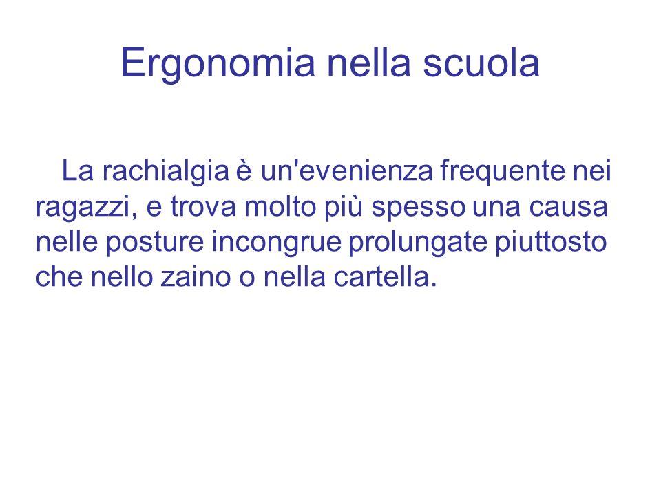 Ergonomia nella scuola La rachialgia è un'evenienza frequente nei ragazzi, e trova molto più spesso una causa nelle posture incongrue prolungate piutt