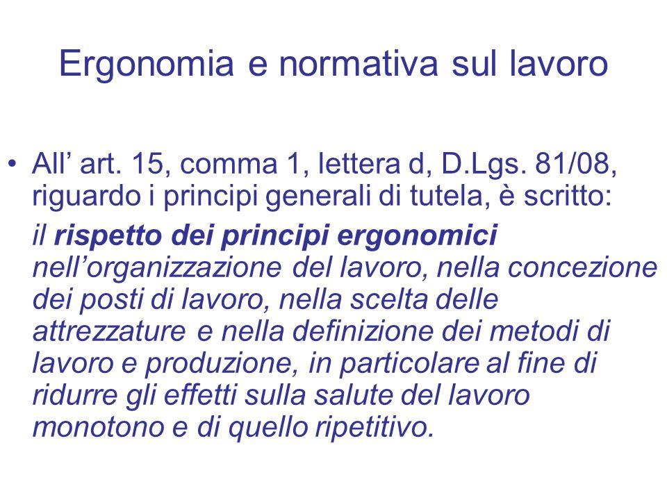 Ergonomia e normativa sul lavoro All art. 15, comma 1, lettera d, D.Lgs. 81/08, riguardo i principi generali di tutela, è scritto: il rispetto dei pri
