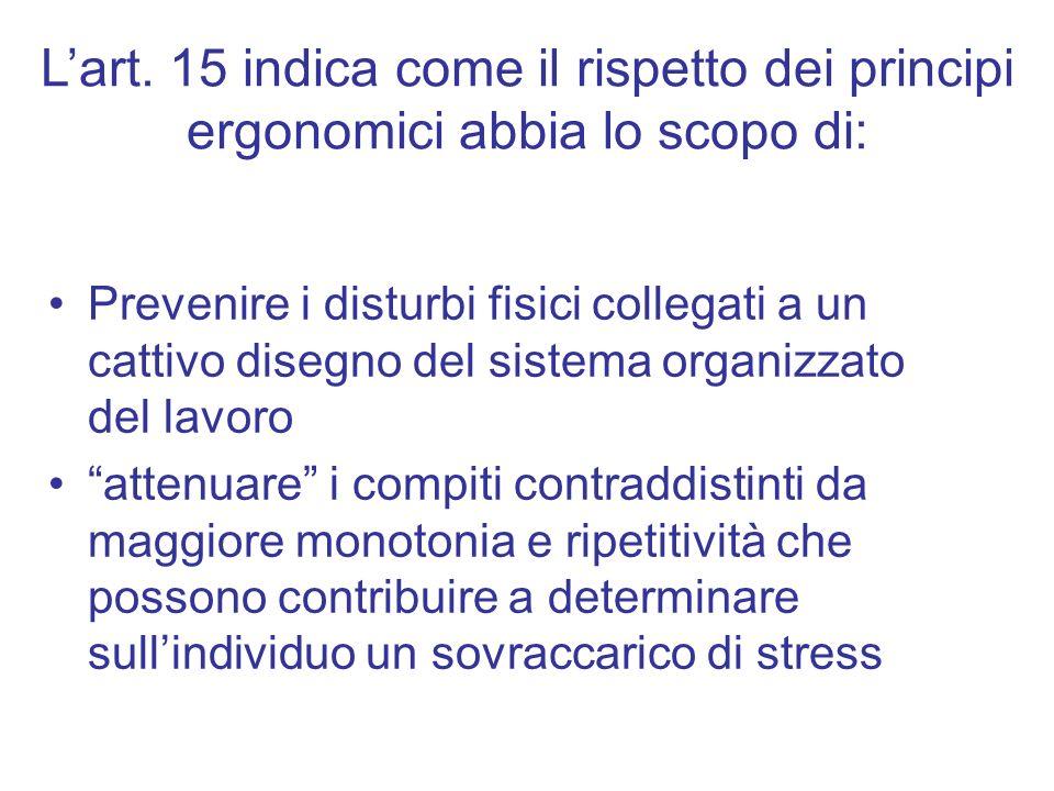 Lart. 15 indica come il rispetto dei principi ergonomici abbia lo scopo di: Prevenire i disturbi fisici collegati a un cattivo disegno del sistema org