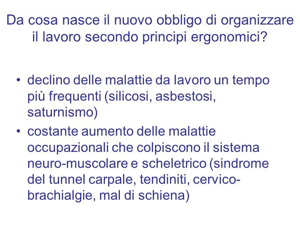 Da cosa nasce il nuovo obbligo di organizzare il lavoro secondo principi ergonomici? declino delle malattie da lavoro un tempo più frequenti (silicosi
