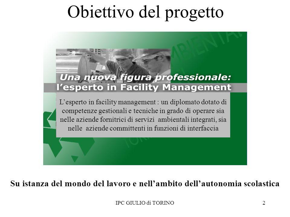 Obiettivo del progetto IPC GIULIO di TORINO2 Su istanza del mondo del lavoro e nellambito dellautonomia scolastica Lesperto in facility management : u