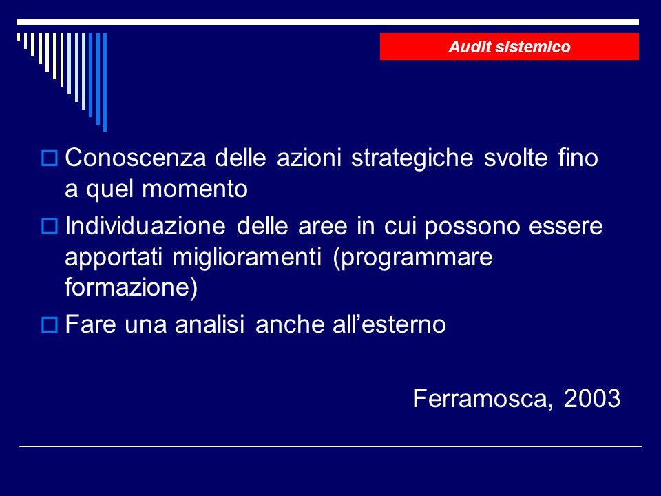 Conoscenza delle azioni strategiche svolte fino a quel momento Individuazione delle aree in cui possono essere apportati miglioramenti (programmare formazione) Fare una analisi anche allesterno Ferramosca, 2003 Audit sistemico