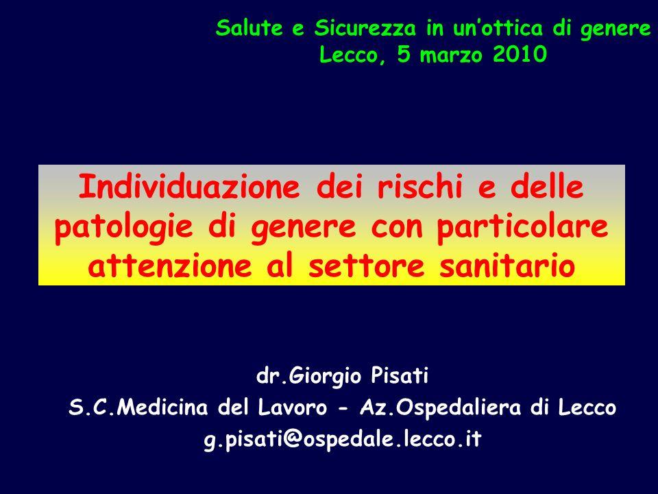Individuazione dei rischi e delle patologie di genere con particolare attenzione al settore sanitario dr.Giorgio Pisati S.C.Medicina del Lavoro - Az.O