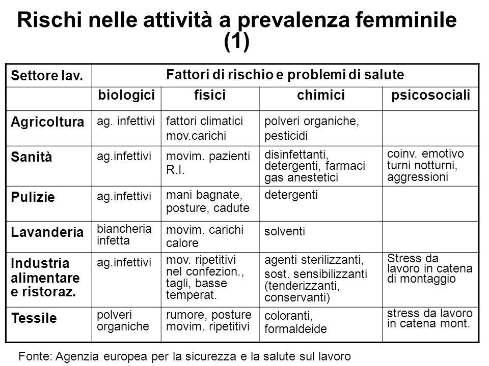 Rischi nelle attività a prevalenza femminile (1) Settore lav. Fattori di rischio e problemi di salute biologicifisicichimicipsicosociali Agricoltura a