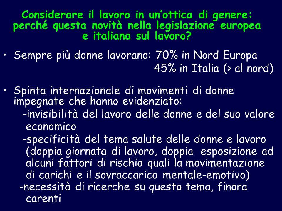 Considerare il lavoro in unottica di genere: perché questa novità nella legislazione europea e italiana sul lavoro? Sempre più donne lavorano: 70% in