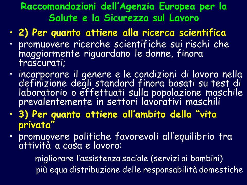 Raccomandazioni dellAgenzia Europea per la Salute e la Sicurezza sul Lavoro 2) Per quanto attiene alla ricerca scientifica promuovere ricerche scienti