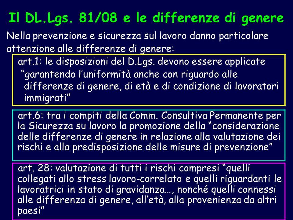 Il DL.Lgs. 81/08 e le differenze di genere Nella prevenzione e sicurezza sul lavoro danno particolare attenzione alle differenze di genere: art.1: le