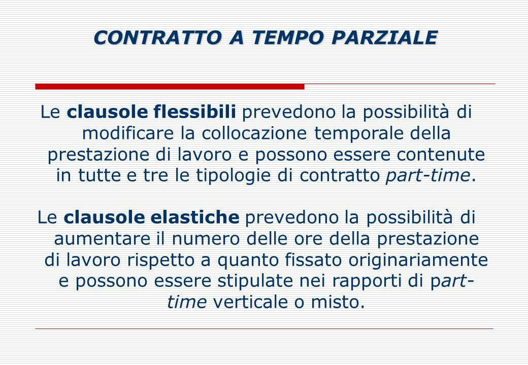 Le clausole flessibili prevedono la possibilità di modificare la collocazione temporale della prestazione di lavoro e possono essere contenute in tutte e tre le tipologie di contratto part-time.