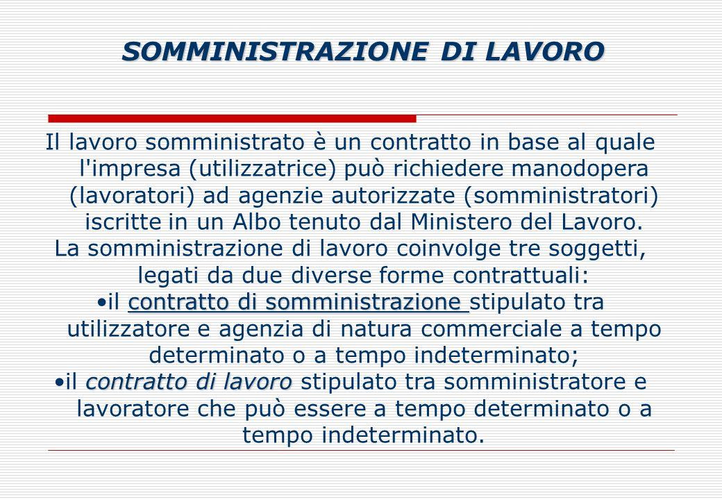 Il lavoro somministrato è un contratto in base al quale l impresa (utilizzatrice) può richiedere manodopera (lavoratori) ad agenzie autorizzate (somministratori) iscritte in un Albo tenuto dal Ministero del Lavoro.