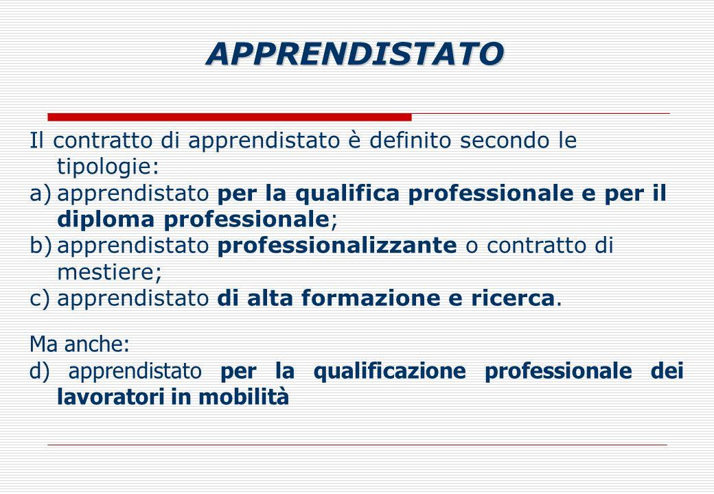 Il contratto di apprendistato è definito secondo le tipologie: a)apprendistato per la qualifica professionale e per il diploma professionale; b)apprendistato professionalizzante o contratto di mestiere; c)apprendistato di alta formazione e ricerca.