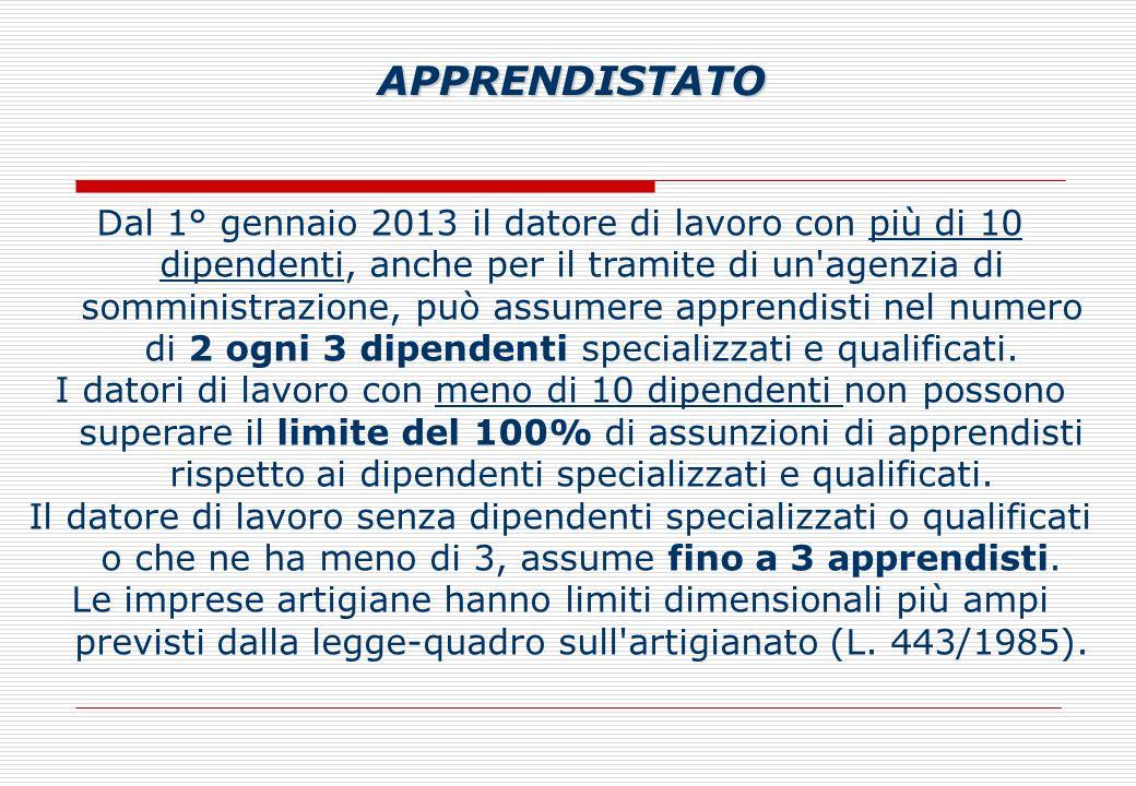 Dal 1° gennaio 2013 il datore di lavoro con più di 10 dipendenti, anche per il tramite di un agenzia di somministrazione, può assumere apprendisti nel numero di 2 ogni 3 dipendenti specializzati e qualificati.