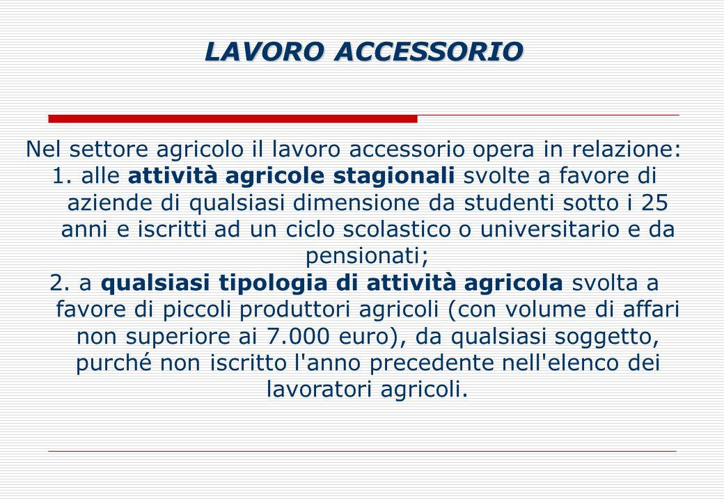 Nel settore agricolo il lavoro accessorio opera in relazione: 1.