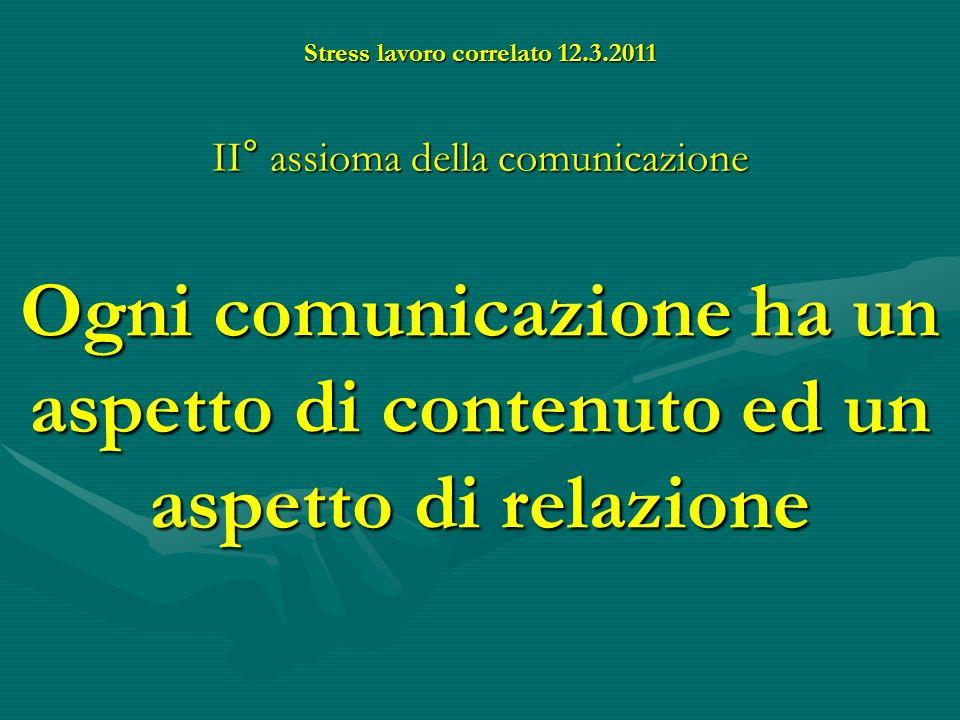 Stress lavoro correlato 12.3.2011 Esiste un linguaggio VERBALE e un linguaggio un linguaggioNONVERBALE