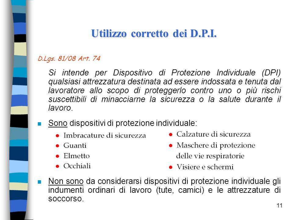 11 D.Lgs. 81/08 Art. 74 Si intende per Dispositivo di Protezione Individuale (DPI) qualsiasi attrezzatura destinata ad essere indossata e tenuta dal l