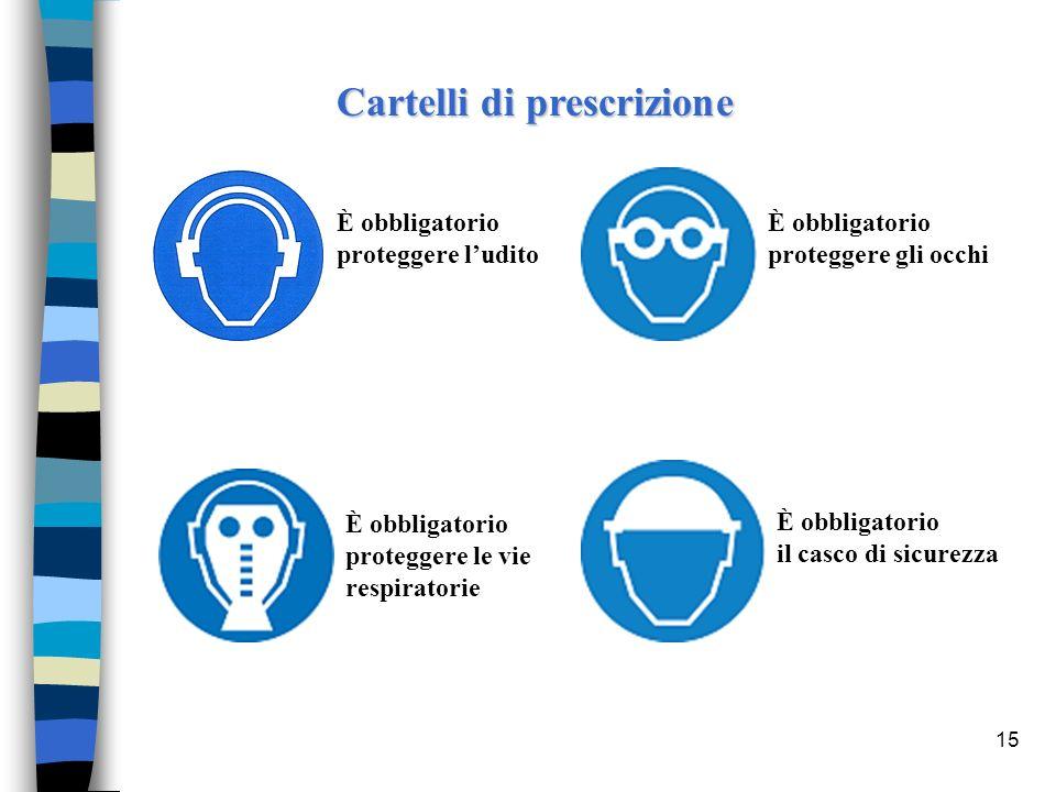 15 Cartelli di prescrizione È obbligatorio proteggere ludito È obbligatorio proteggere le vie respiratorie È obbligatorio proteggere gli occhi È obbli