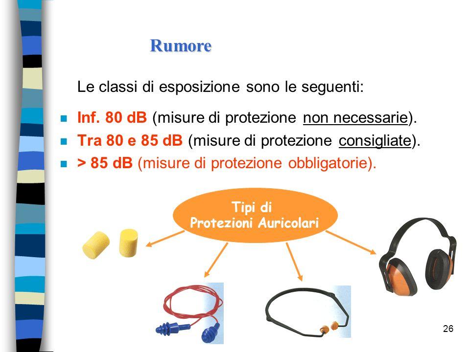 26 Le classi di esposizione sono le seguenti: n Inf. 80 dB (misure di protezione non necessarie). n Tra 80 e 85 dB (misure di protezione consigliate).