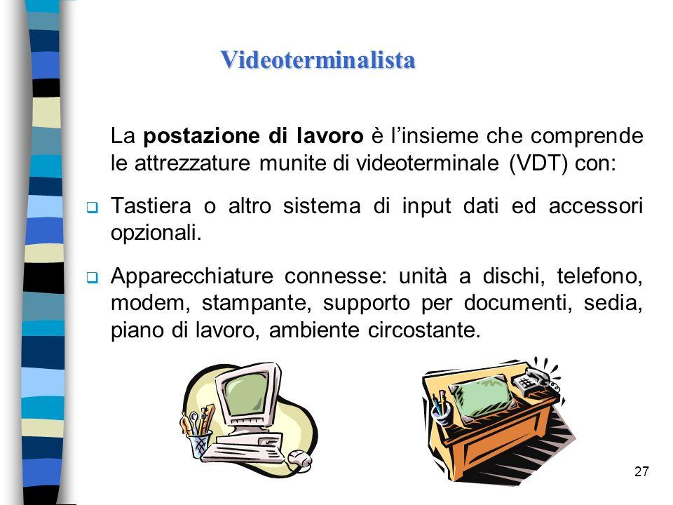 27 La postazione di lavoro è linsieme che comprende le attrezzature munite di videoterminale (VDT) con: Tastiera o altro sistema di input dati ed acce