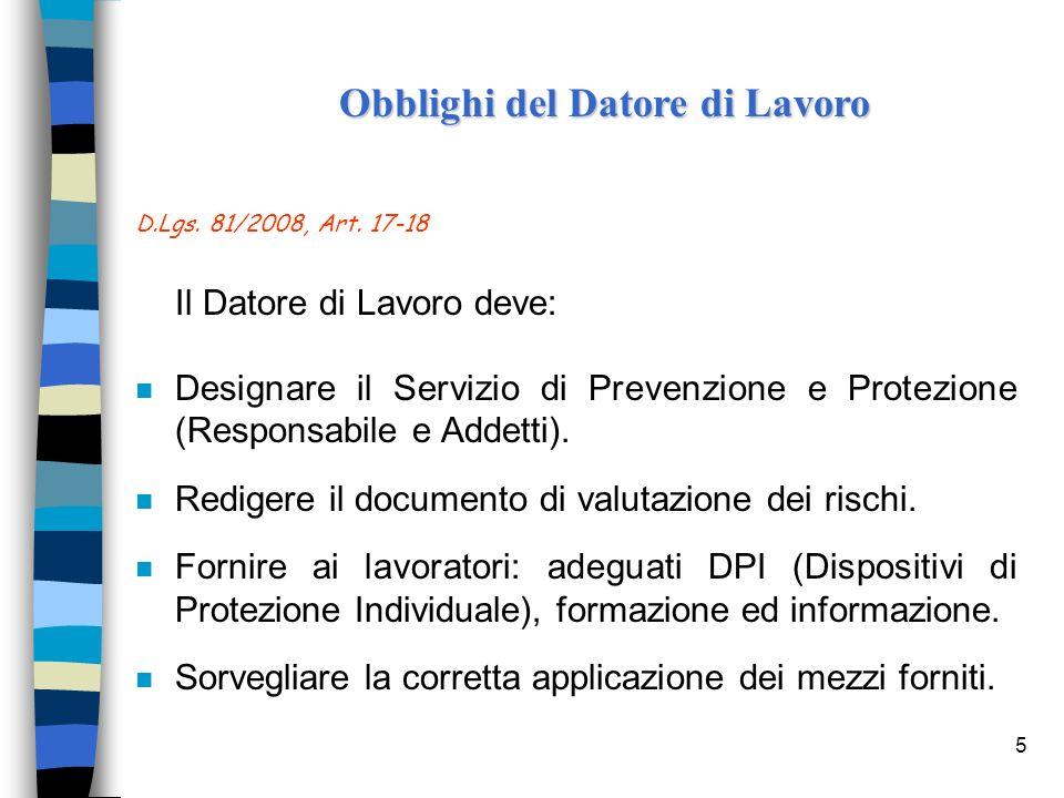 5 D.Lgs. 81/2008, Art. 17-18 Il Datore di Lavoro deve: n Designare il Servizio di Prevenzione e Protezione (Responsabile e Addetti). n Redigere il doc