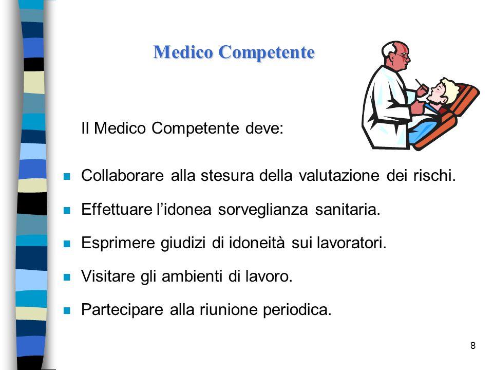 8 Il Medico Competente deve: n Collaborare alla stesura della valutazione dei rischi. n Effettuare lidonea sorveglianza sanitaria. n Esprimere giudizi