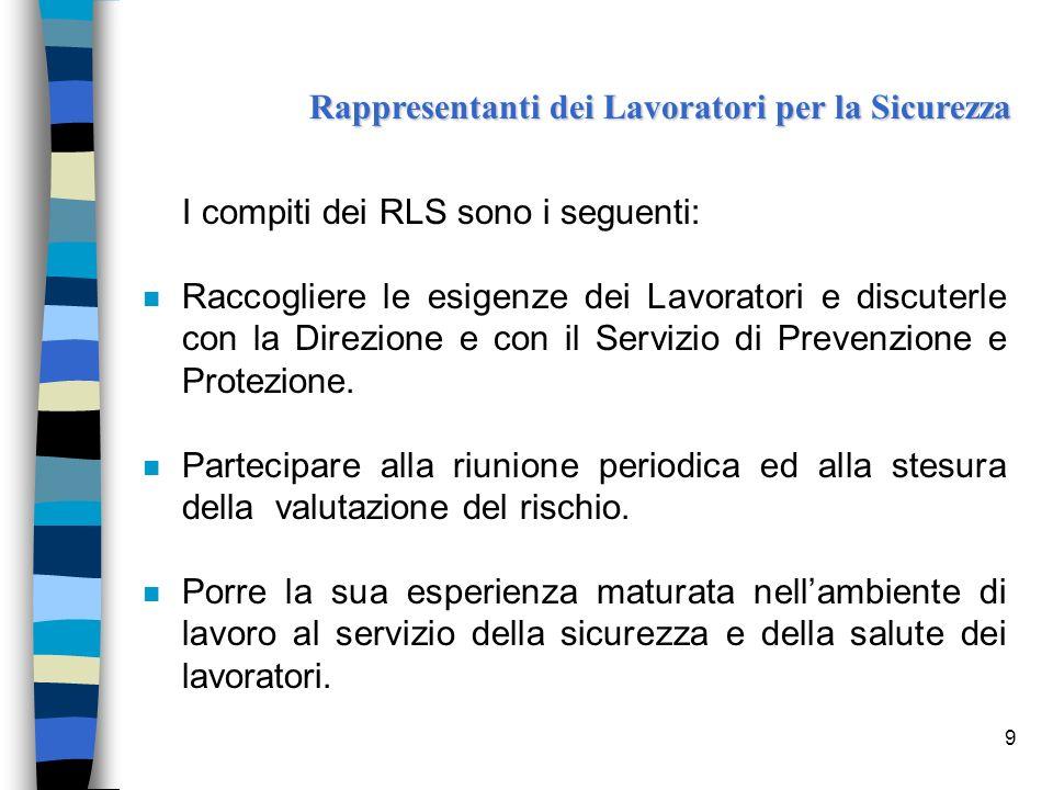 9 I compiti dei RLS sono i seguenti: n Raccogliere le esigenze dei Lavoratori e discuterle con la Direzione e con il Servizio di Prevenzione e Protezi