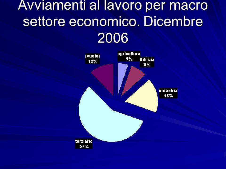 Avviamenti al lavoro per macro settore economico. Dicembre 2006