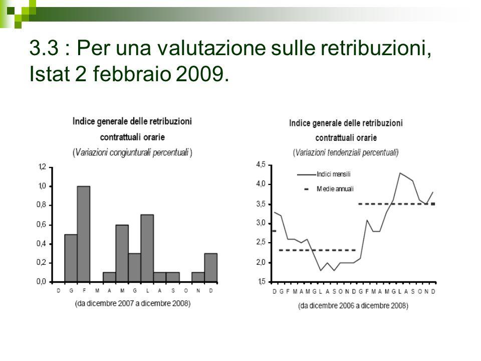 3.3 : Per una valutazione sulle retribuzioni, Istat 2 febbraio 2009.