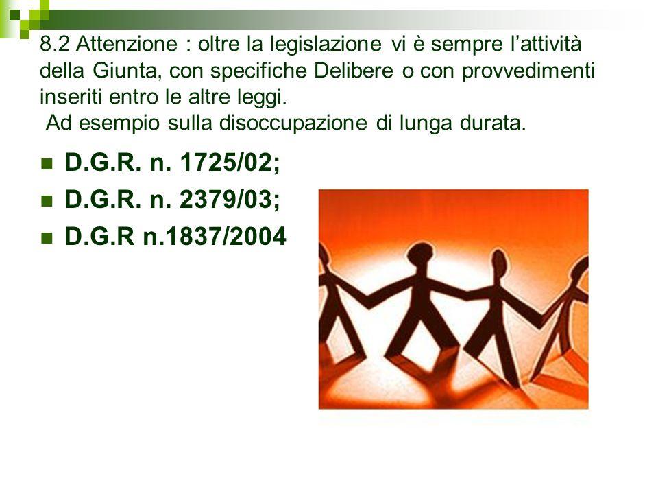 8.2 Attenzione : oltre la legislazione vi è sempre lattività della Giunta, con specifiche Delibere o con provvedimenti inseriti entro le altre leggi.