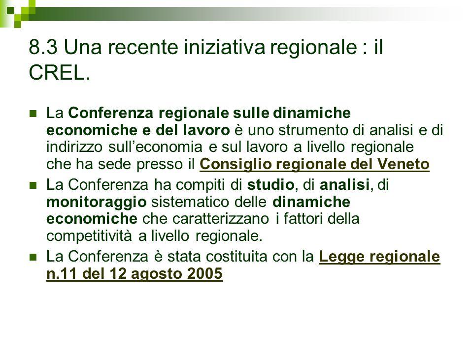 8.3 Una recente iniziativa regionale : il CREL.