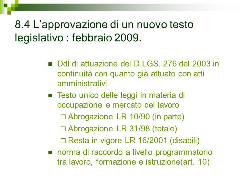 8.4 Lapprovazione di un nuovo testo legislativo : febbraio 2009.