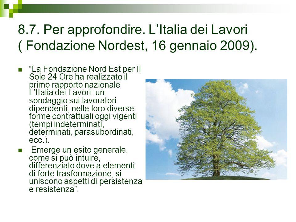 8.7. Per approfondire. LItalia dei Lavori ( Fondazione Nordest, 16 gennaio 2009).