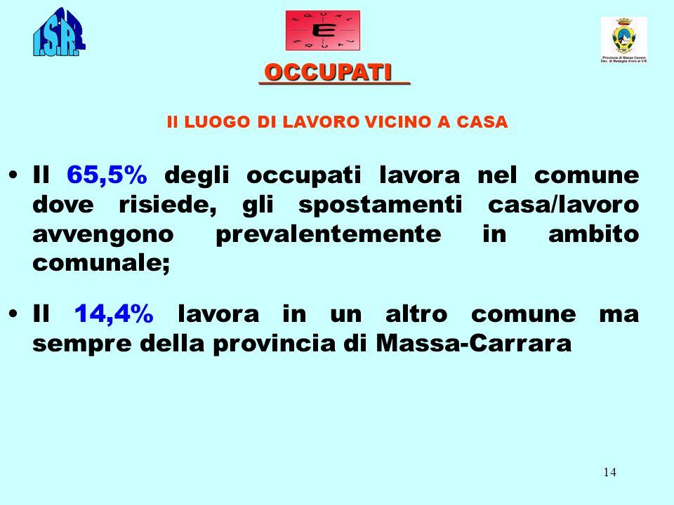 14 OCCUPATI OCCUPATI Il LUOGO DI LAVORO VICINO A CASA Il 65,5% degli occupati lavora nel comune dove risiede, gli spostamenti casa/lavoro avvengono pr