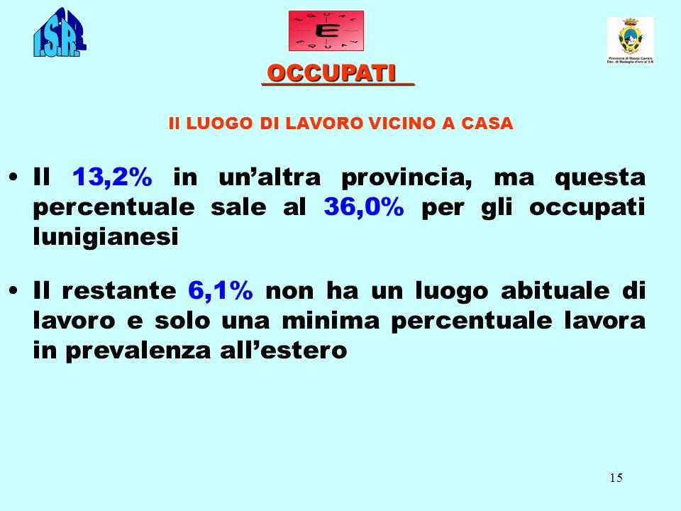 15 OCCUPATI OCCUPATI Il LUOGO DI LAVORO VICINO A CASA Il 13,2% in unaltra provincia, ma questa percentuale sale al 36,0% per gli occupati lunigianesi
