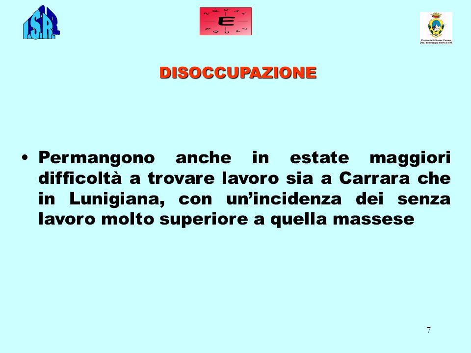 7 DISOCCUPAZIONE Permangono anche in estate maggiori difficoltà a trovare lavoro sia a Carrara che in Lunigiana, con unincidenza dei senza lavoro molto superiore a quella massese