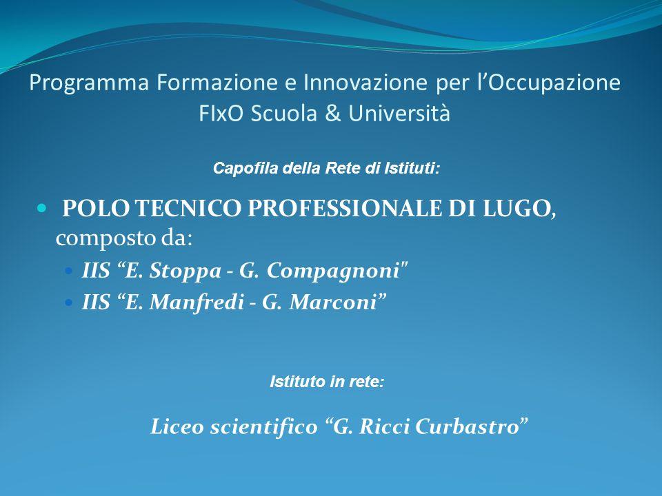 Programma Formazione e Innovazione per lOccupazione FIxO Scuola & Università POLO TECNICO PROFESSIONALE DI LUGO, composto da: IIS E.