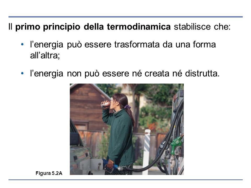 Figura 5.2A Il primo principio della termodinamica stabilisce che: lenergia può essere trasformata da una forma allaltra; lenergia non può essere né c