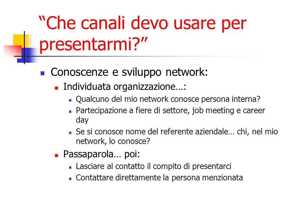 Conoscenze e sviluppo network: Individuata organizzazione…: Qualcuno del mio network conosce persona interna.