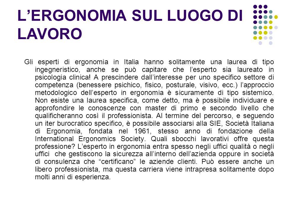 LERGONOMIA SUL LUOGO DI LAVORO Gli esperti di ergonomia in Italia hanno solitamente una laurea di tipo ingegneristico, anche se può capitare che lespe
