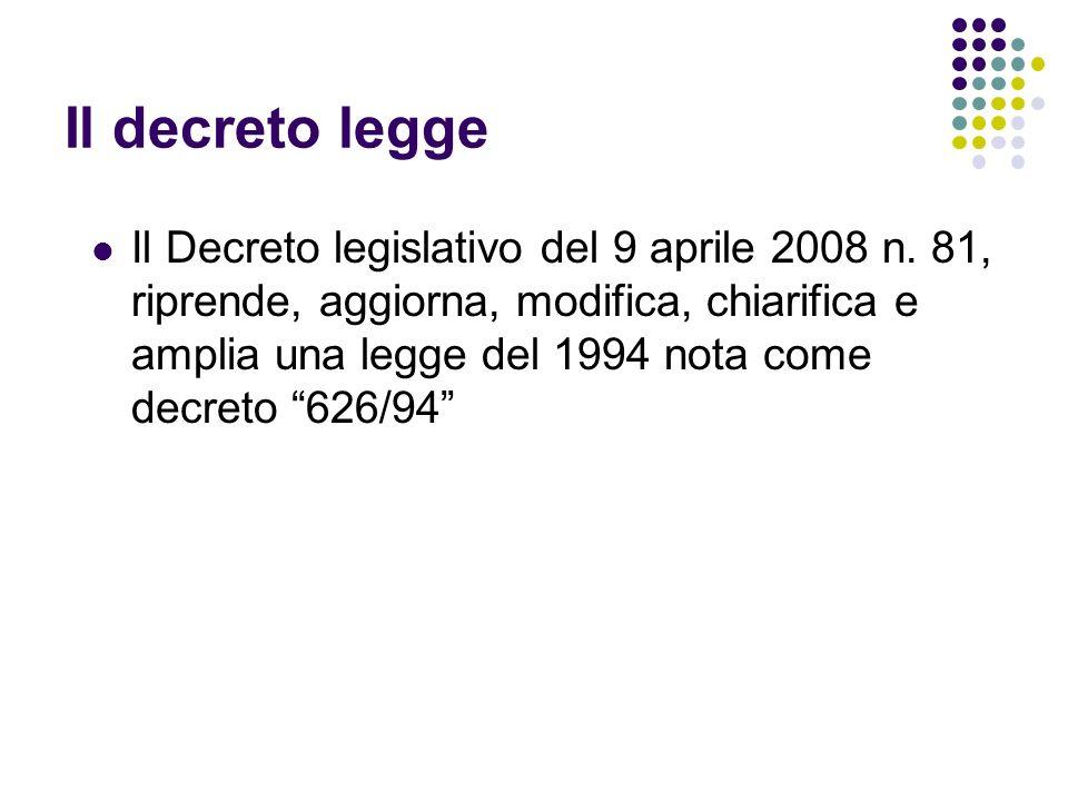 Il decreto legge Il Decreto legislativo del 9 aprile 2008 n. 81, riprende, aggiorna, modifica, chiarifica e amplia una legge del 1994 nota come decret