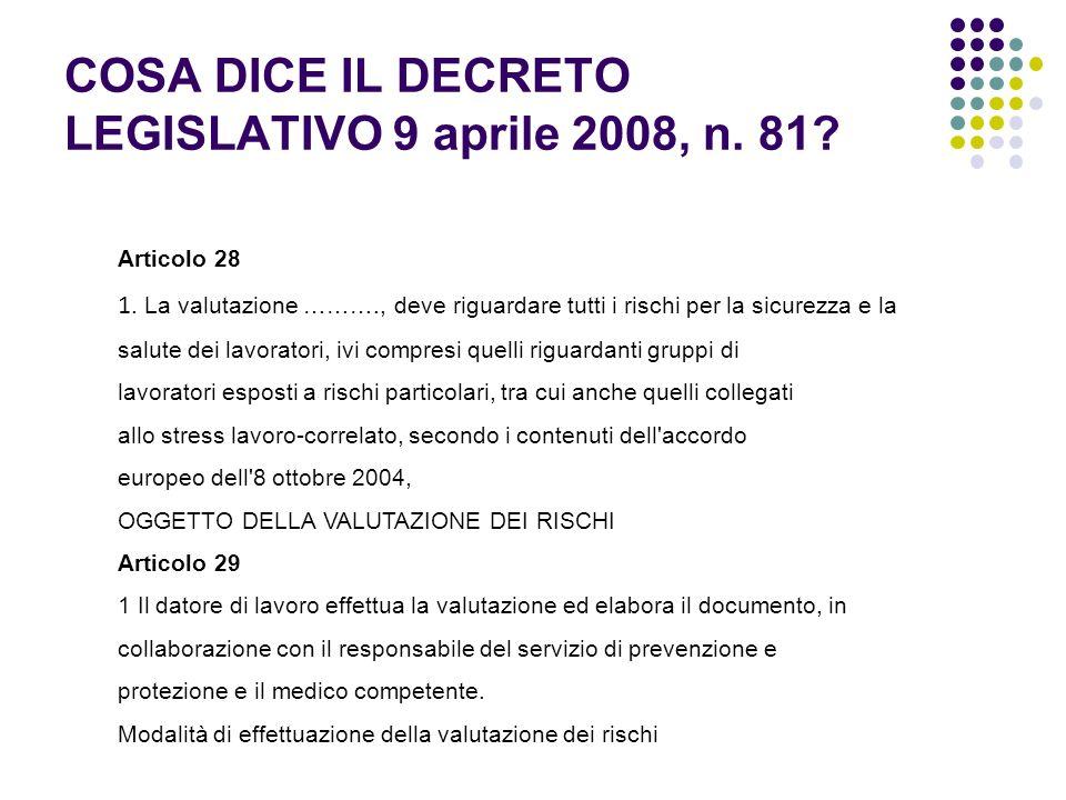 COSA DICE IL DECRETO LEGISLATIVO 9 aprile 2008, n. 81? Articolo 28 1. La valutazione ………., deve riguardare tutti i rischi per la sicurezza e la salute