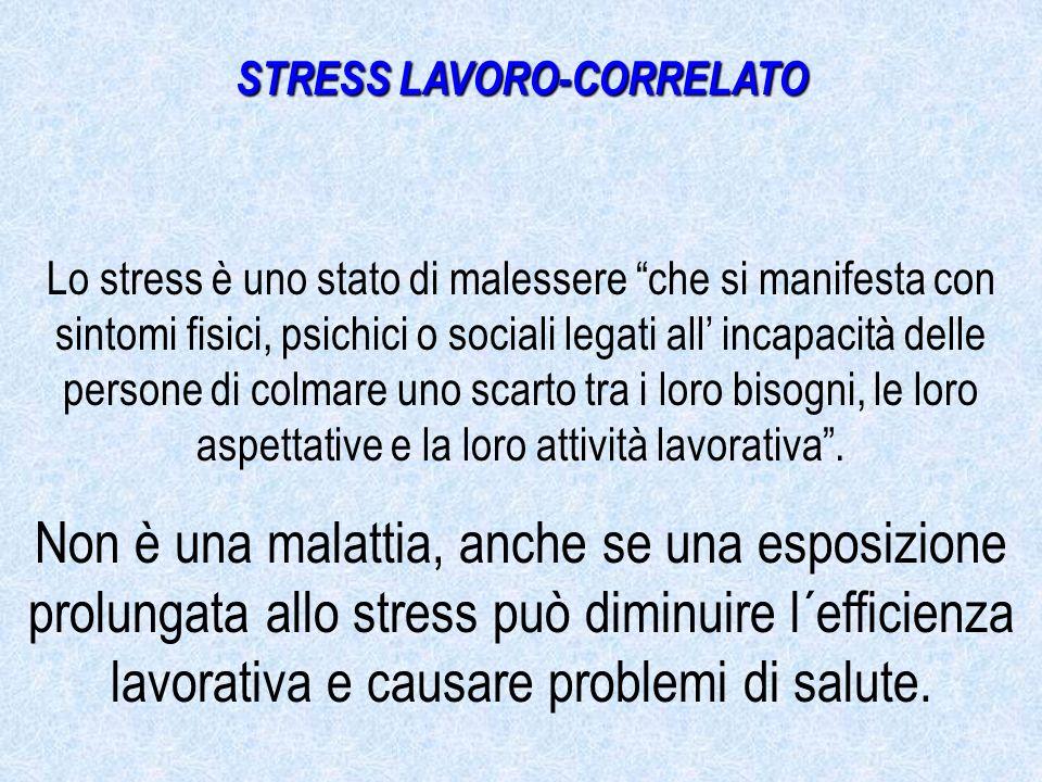 Lo stress è uno stato di malessere che si manifesta con sintomi fisici, psichici o sociali legati all incapacità delle persone di colmare uno scarto tra i loro bisogni, le loro aspettative e la loro attività lavorativa.