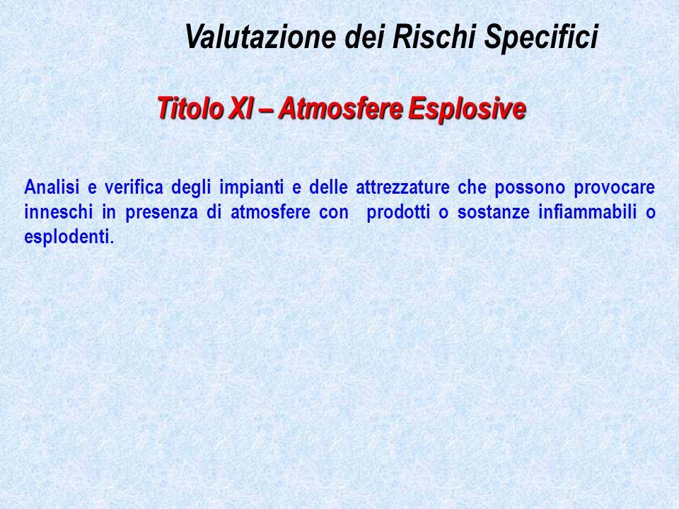 Valutazione dei Rischi Specifici Titolo XI – Atmosfere Esplosive Analisi e verifica degli impianti e delle attrezzature che possono provocare inneschi in presenza di atmosfere con prodotti o sostanze infiammabili o esplodenti.
