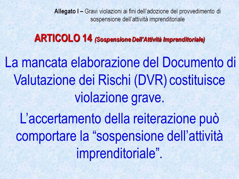 La mancata elaborazione del Documento di Valutazione dei Rischi (DVR) costituisce violazione grave.