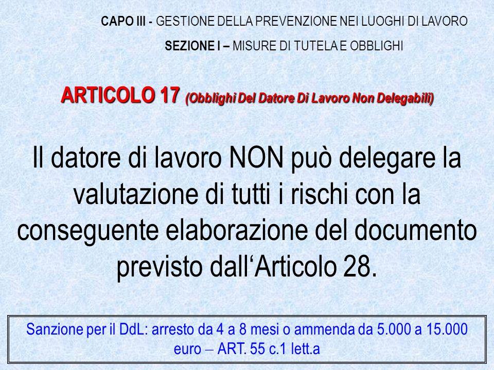 Il datore di lavoro NON può delegare la valutazione di tutti i rischi con la conseguente elaborazione del documento previsto dallArticolo 28.