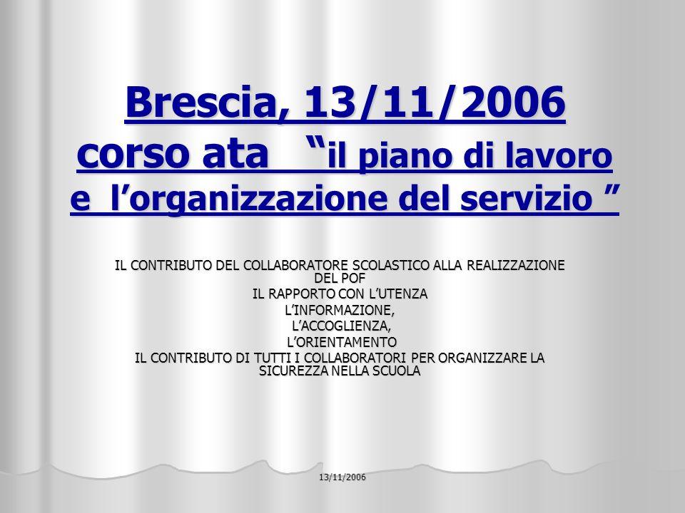 13/11/2006 Brescia, 13/11/2006 corso ata il piano di lavoro e lorganizzazione del servizio IL CONTRIBUTO DEL COLLABORATORE SCOLASTICO ALLA REALIZZAZIONE DEL POF IL RAPPORTO CON LUTENZA LINFORMAZIONE, LACCOGLIENZA, LACCOGLIENZA, LORIENTAMENTO LORIENTAMENTO IL CONTRIBUTO DI TUTTI I COLLABORATORI PER ORGANIZZARE LA SICUREZZA NELLA SCUOLA
