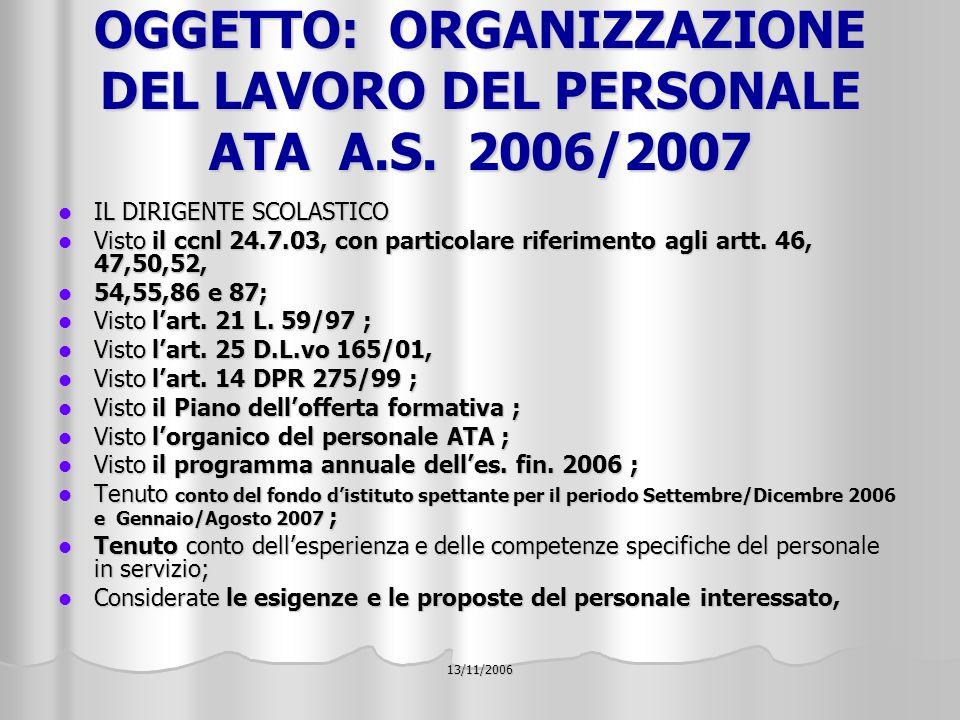 13/11/2006 OGGETTO: ORGANIZZAZIONE DEL LAVORO DEL PERSONALE ATA A.S.