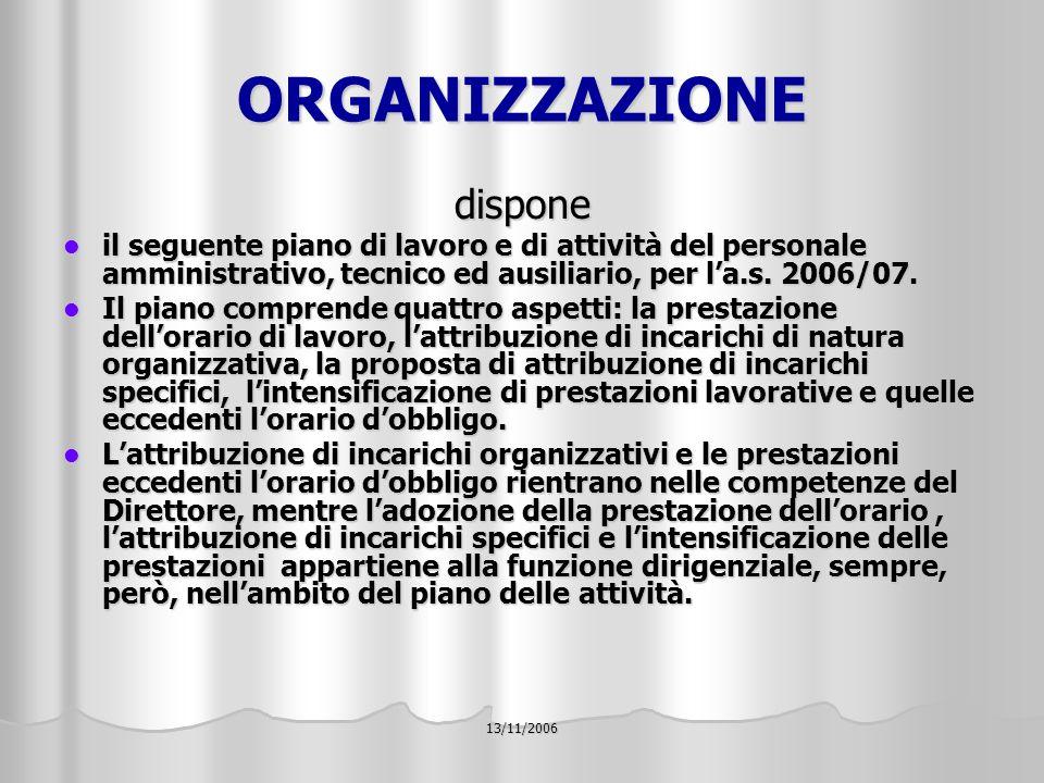 13/11/2006 ORGANIZZAZIONE dispone il seguente piano di lavoro e di attività del personale amministrativo, tecnico ed ausiliario, per la.s.